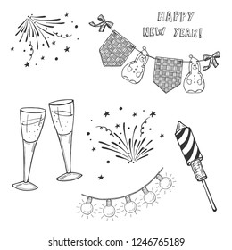 Vector hand drawn illustration of Happy New Year Set.  Fireworks and Rocket Firework, garland flag and lamp, clinking glasses with champagne. Isolated on white background.