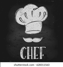 Vector hand drawn illustration.  Hat chef is drawn on the chalk Board. The idea for a cafe, restaurant, kitchen, poster.