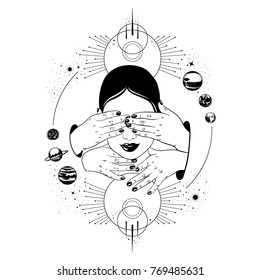 Vector hand drawn illustration of head with hands. Creative tattoo artwork. Template for card, poster, banner, print for t-shirt.