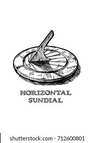 Vector hand drawn illustration of horizontal sundial. in vintage engraved style.