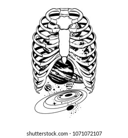 Vector hand drawn illustration of human ribs with planets isolated. Template for card, poster, banner, print for t-shirt.