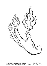 Vector hand drawn illustration  of human hand with fire and  melting fingers. Tattoo artwork. Template for card, poster, banner, print for t-shirt.