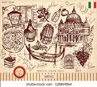 Vector hand drawn illustration with Italian symbols