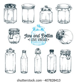 Vector hand drawn Illustration with jars and bottles. Sketch. Vintage style. Retro background.