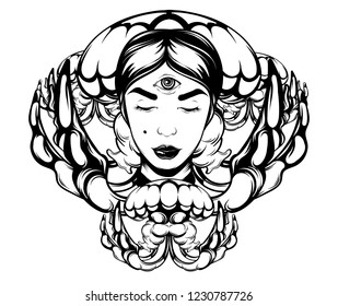 Vector hand drawn illustration of jelly fish with fortune teller . Creative tattoo artwork with portrait. Template for card, poster, banner, print for t-shirt, pin, badge, patch.