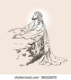 Vector hand drawn illustration of Jesus christ praying in the garden