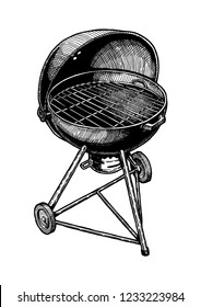 Vector hand drawn illustration of kettle grill in vintage engraved style. Isolated on white background.