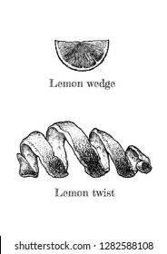 Vector hand drawn illustration of Lemon twist and wedge in vintage engraved style. isolated on white background.