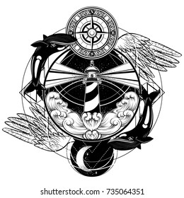 Vector hand drawn illustration of lighthouse with rays, waves, wings,whales and vintage compass. Tattoo artwork. Template for card, poster, banner, print for t-shirt.