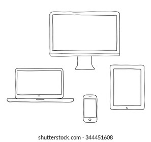 Vector hand drawn illustration of a line  desktop computer, laptop, tablet pc and smartphone,