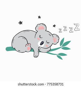 Vector hand drawn illustration of little cute koala sleeping on green bamboo tree with star and letters z. Can be used as card, poster,fashion print for t shirt, for baby shower and others. Good night