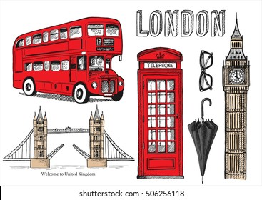 Vector hand drawn illustration with London symbols
