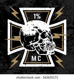 Vector hand drawn illustration with Maltese cross with a skull. Biker symbol. Motorcycle club T shirt graphics concept. Grunge texture on separate layer