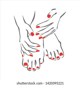 Vector hand drawn illustration of manicure and nail polish on woman hands