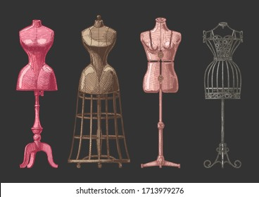 Vector hand drawn illustration of mannequins set in vintage engraved style. Old fashion dummy, dress-stand with bustle, adjustable dress form, frame mannequin. isolated on black background. front view