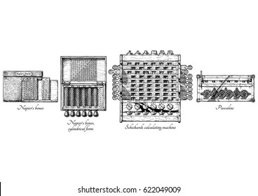 Vector hand drawn illustration of mechanical calculators history. XVII Century. Napier's bones and cylindrical form calculating tables, Schickard's calculating machine, Pascaline.