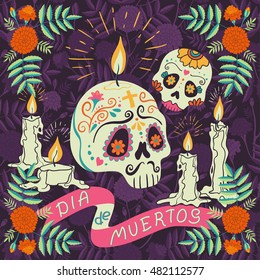 "Vector hand drawn illustration of Mexican holiday ""Day of the Dead"". The postcard with traditional  sugar skulls, marigold flowers and candles, and lettering ""Dia de Muertos"""