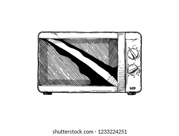 Vector hand drawn illustration of Microwave oven in vintage engraved style. Isolated on white background. front view