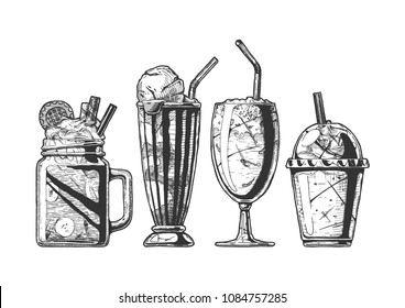 Vector hand drawn illustration of milkshake and coffee served with ice cream. Set in vintage engraved style. Isolated on white background.