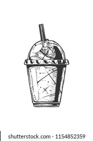 Vector hand drawn illustration of milkshake in vintage engraved style. Isolated on white background.