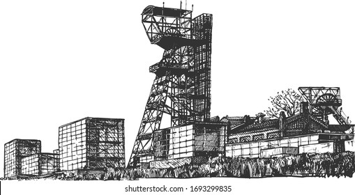 Vector hand drawn illustration of mine shaft tower in vintage engraved style. Isolated on white background.