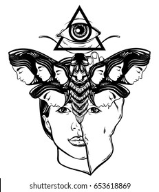 Vector hand drawn illustration of moth with female faces on the wings and face of pretty young girl.  All seeing eye pyramid symbol. Tattoo art. Template for card, poster banner print for t-shirt.