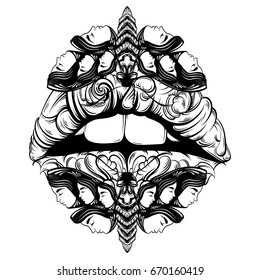 Vector hand drawn illustration of moth with female faces on the wings and lips made in abstract baroque style. Fantasy, occultism, tattoo art. Template for card, poster banner print for t-shirt.