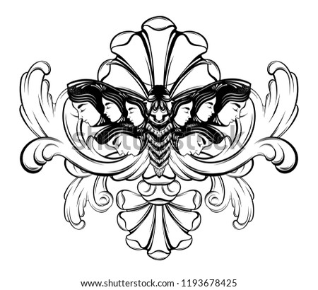 9c5dce8ee8222 Vector hand drawn illustration of moth with frame. Creative realistic tattoo  artwork. Template for