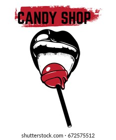 Vector hand drawn illustration of mouth with lollipop. Template for card, poster, banner, print for t-shirt .
