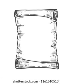 Vector hand drawn illustration of old scrolls in vintage engraved style. isolated on white background.