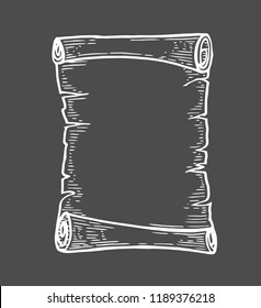 Vector hand drawn illustration of old scrolls in vintage engraved style. isolated on black background.