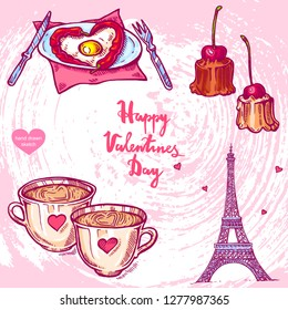 Vector hand drawn illustration of Paris Effel Tower,cup of tea, dessert, fruits, text Happy Valentines Day on background with paper texture. French Effel Tower sketch. Linear art in vintage style