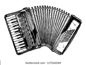Vector hand drawn illustration of Piano accordion in vintage engraved style. Isolated on white background.