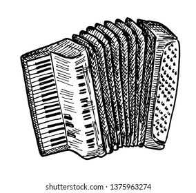 Vector hand drawn illustration of Piano accordion in vintage engraved style. Isolated on white background. Sketch