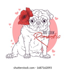 Vector hand drawn illustration. Portrait of the dog with flowers on his head. The pug sits with a funny expression on his face. Each object can be changed and moved for your design.