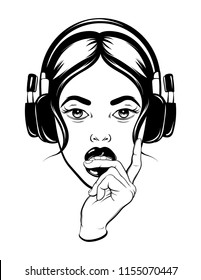 Vector hand drawn illustration of pretty young woman in headphones biting her finger. Template for card, poster. banner, print for t-shirt, pin, badge, patch.