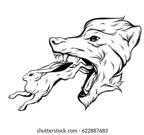 Vector hand drawn illustration of rabbit and big head of angry wolf. Hand sketched tattoo artwork with flowers. Character design. Template for card, poster, print for t-shirt.
