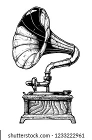 Vector hand drawn illustration of record gramophone in vintage engraved style. Isolated on white background.
