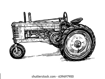 Vector hand drawn illustration of retro threeâ??wheeled tractor in vintage engraved style. isolated on white background. Side view.