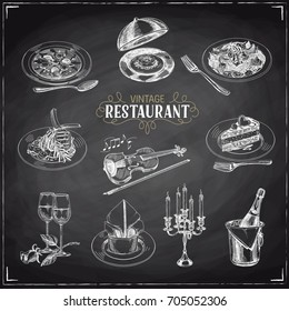 Vector hand drawn Illustration with retro restaurant staff. Sketch. Vintage style. Chalkboard
