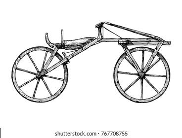 Vector hand drawn illustration of retro Wooden bicycle, draisine.