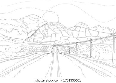 Vector hand drawn illustration, road contour and landscapes of latin america. For the possibility of self-painting.