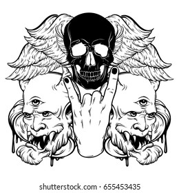 Vector hand drawn illustration of rock hand with human skull with wings and devil. Tattoo artwork. Template for card, poster, banner, print for t-shirt.