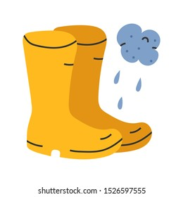 Vector hand drawn illustration of rubber wellies rain boots apparel for cool rainy weather, seasonal autumn symbol. Doodle icons in modern trendy flat cartoon style.