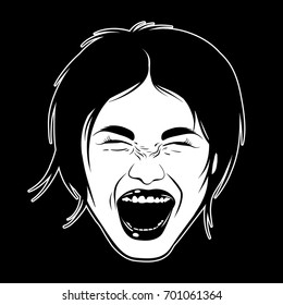 Vector hand drawn illustration of screaming girl. Emotional realistic portrait. Template for card, poster, banner, print for t-shirt.