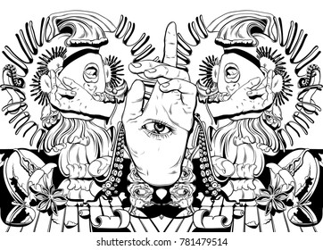 Alien eyes images stock photos vectors shutterstock vector hand drawn illustration with screaming girl tentacles roses venus flytrap tattoo ccuart Choice Image