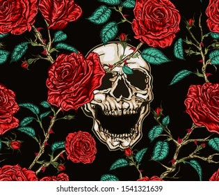 Vector hand drawn illustration seamless pattern of screaming skull and red roses with stems, leaves and thorns, tangled on black background.