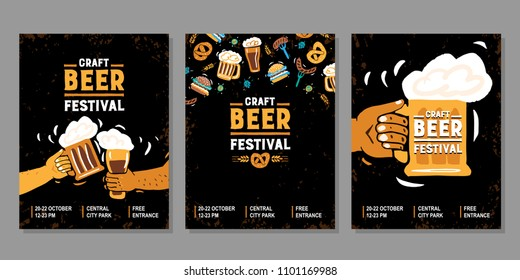 Vector hand drawn illustration. Set poster for the craft beer festival.