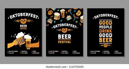 Vector hand drawn illustration. Set poster for the beer festival. Oktoberfest. Good people drink good beer.