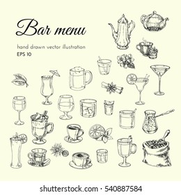 vector hand drawn illustration. Set alcoholic cocktails, tea, coffe. sketch for menu bars and restaurants